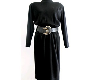 vintage PIERRE  BALMAIN black wool dress long sleeves medium 1980