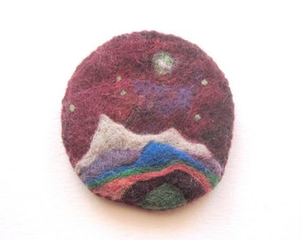 Felt brooch, surreal landscape pin, needle felted badge, felted wool brooch