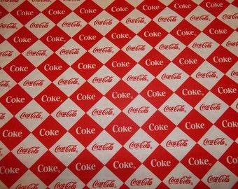 COKE COLA LOGO   Design    pattern  1/2  Yard Piece 100% Cotton Very Cute Fbaric