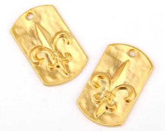 Fleur De Lis Pendant, Fleur De Lis Charms, 22k matte gold plated, 2 pieces // GP-349
