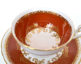 Shelley Fine Bone China Tea Cup and Saucer, Burnt Umber and Gold Scroll, Gold Gilt, England