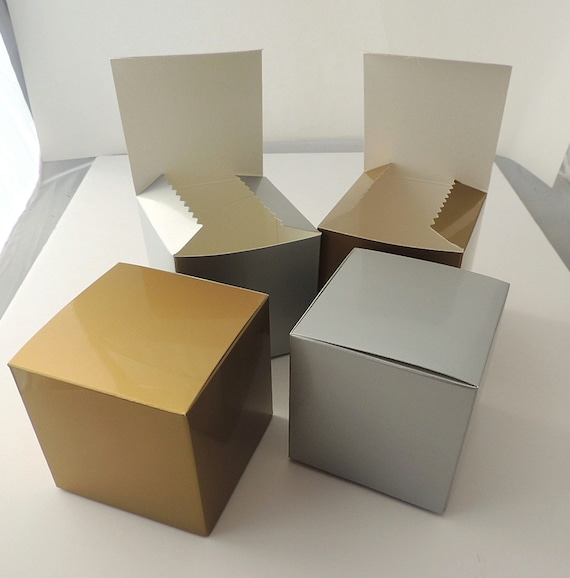Gold Favor Boxes 4x4x4 : Lot of x gold and silver fold tuck gift by