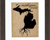 Michigan Roots, Burlap Wall Art, state roots, burlap pictures, prints