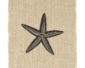 Starfish, Burlap Art, Unframed, burlap prints, nautical home decor