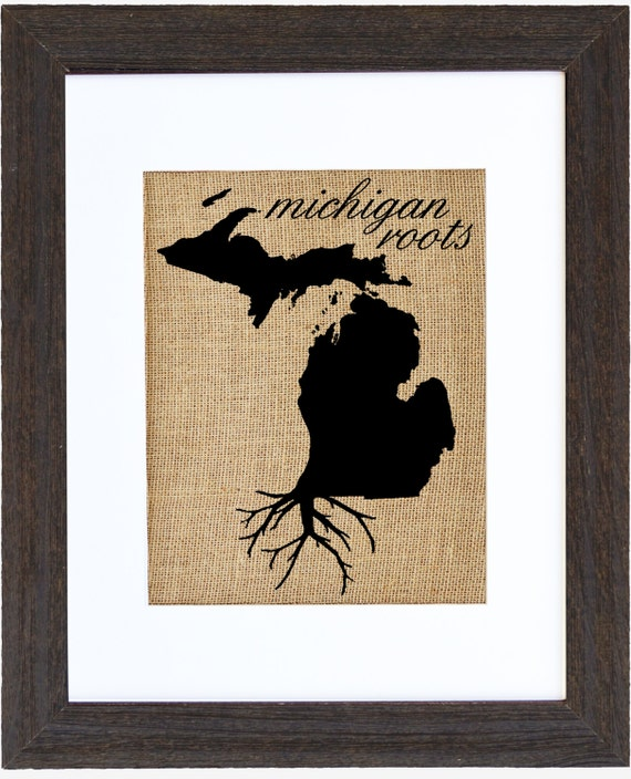 Michigan Roots Burlap Wall Art State Roots Burlap Pictures