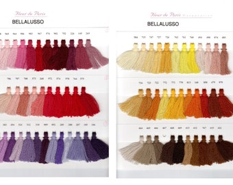 Bella Lusso Color Card - 2-Ply Crewel Weight Wool - With Actual Yarn Samples