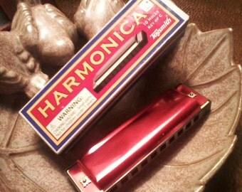 Red Metal Harmonica