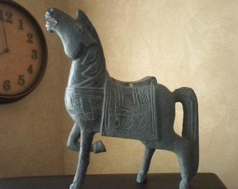 Large Blue Horse Figurine