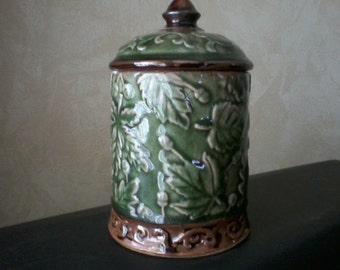 Oak Leaf and Acorn Ceramic Canister