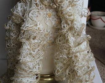 Ivory/Gold Sparkle Ruffle Scarf