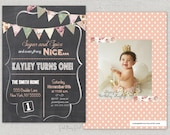Sugar and Spice birthday invitation.  Chalkboard shabby chic.  Vintage floral bunting.  Girl birthday.  Printable.