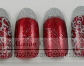 Red and Silver Filigree Instant Acrylic Nail Set