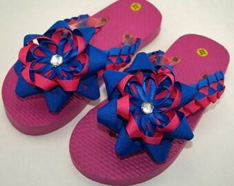 Frozen Princess Anna Inspired Flip Flops- Adult XXS (Size 12 to 13 Girls)