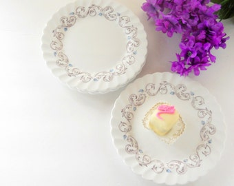 Vintage Johnson Brothers Encore Multi Color Plates, Dessert Plates, Bread and Butter,  English Bone China, Transferware