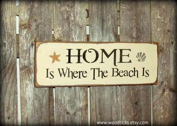 beach house decor wooden beach sign home is where the by