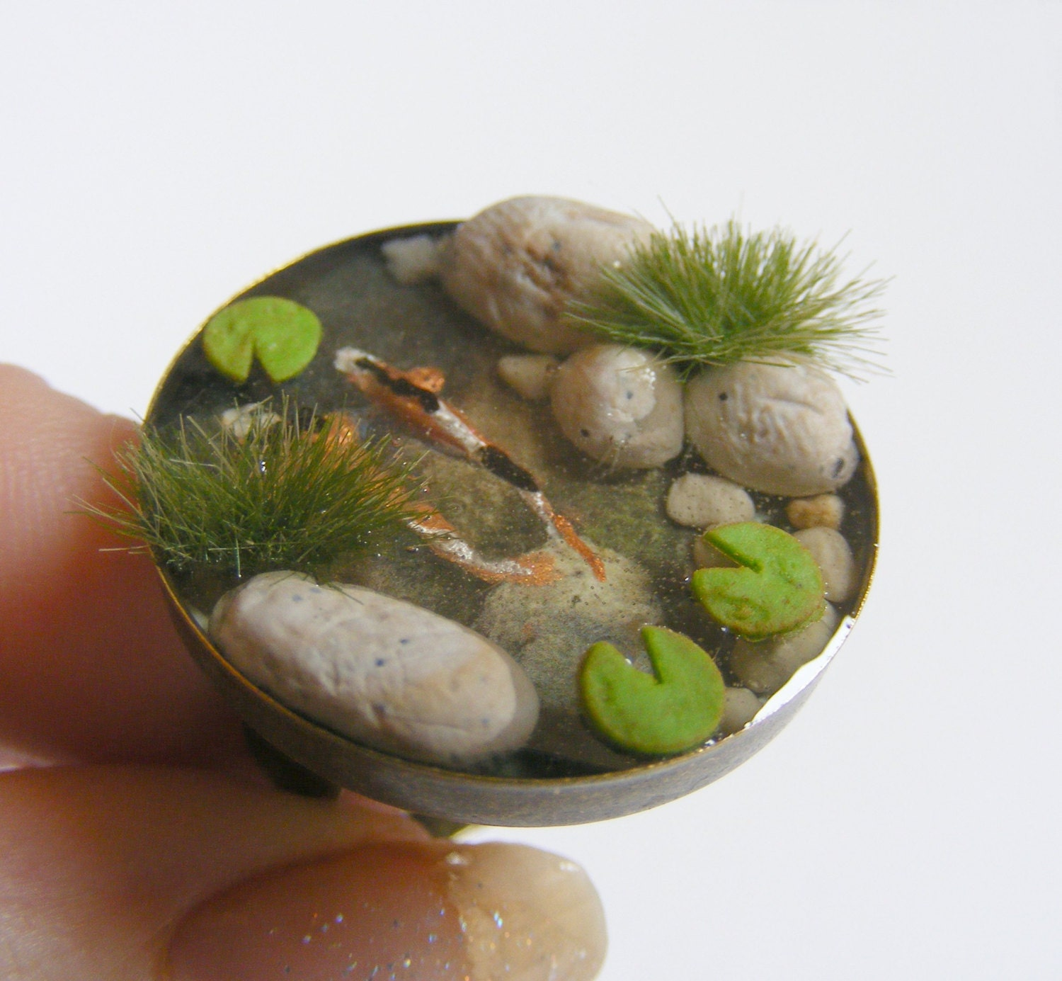 Miniature koi fish pond ring fish pond jewelry zen ring for Mini koi fish