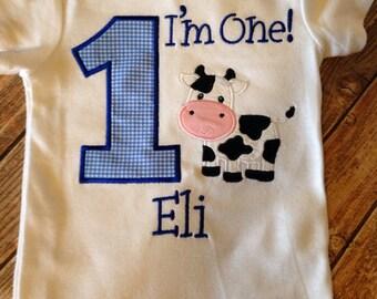 Boys first birthday farm or cow custom birthday bodysuit or shirt