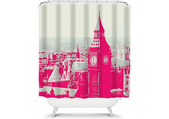 Items Similar To London Shower Curtain Hot Pink And Grey Home Decor London Eye Big Ben On Etsy
