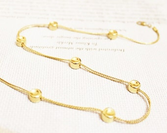 Vintage Gold Bead Necklace by Monet, Delicate Gold Necklace, Gifts Under 25