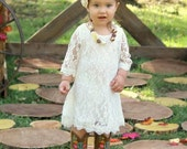 Simply Ivory Rustic Flower girl dress flower lace  Rustic Wedding