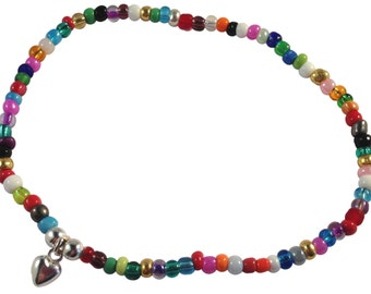 ANKLET Slim Multi-Colour Glass Seed Beads on Elastic with Small Heart Carm