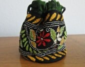 Kantha Drawstring Bags -- Green Batik and Floral