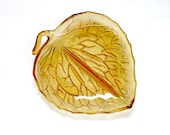 Vintage Amber Pressed Glass Leaf Shaped Trinket Dish