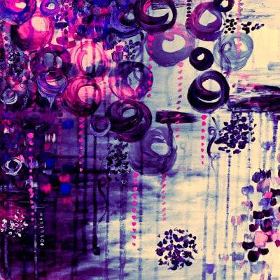 Bubblegum Dreams Eggplant Purple Pink Balloons Fine Art Home