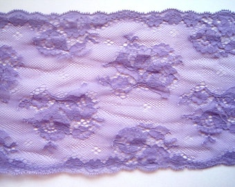 "Purple Floral Extra Wide Lace, Purple, 6 1/2"" inch wide, 1 Yard For Apparel, Home Decor, Accessories, Mixed Media, Scrapbook"