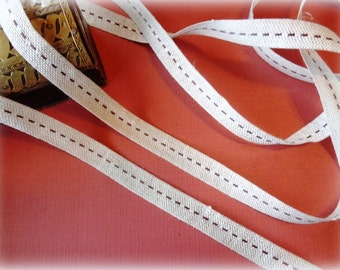 "Burlap Ribbon Trim With Center Stitch, Brown, 5/8"" inch wide, 1 yard, For Scrapbook, Mixed Media, Home Decor,Stationary"