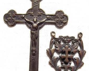 Large Crucifix with Crosses and French Cross of Lorraine Centerpiece Catholic Rosary Supply Part Center VP1215/1174