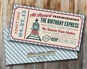 Printable Train Ticket Invitations: All Aboard Birthday Invitation, Boy Birthday Party, Custom, Blue, Red