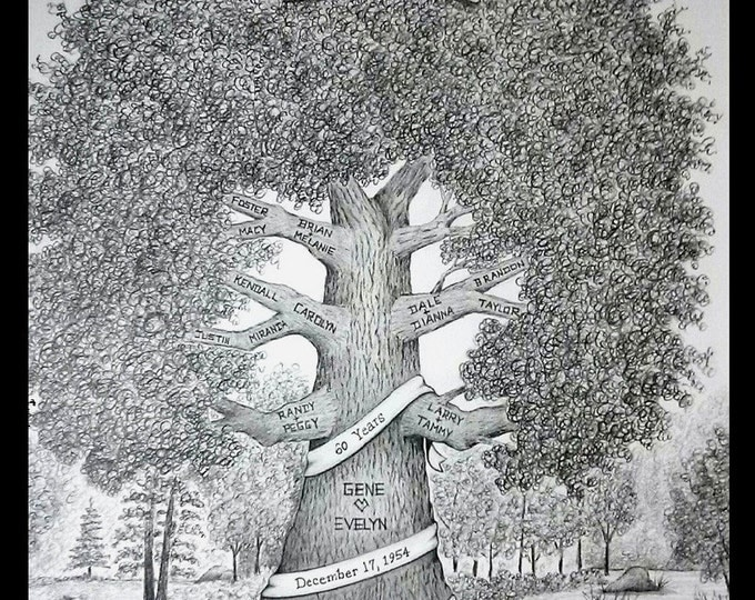 "Featured listing image: Family Tree- 11""x 14"" Personalized, Hand-Drawn Family Tree ~ Anniversary, Birthday, Reunion, Memorial Tree"
