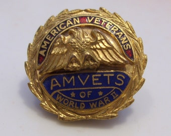 American Veterans Amvets of World War II Lapel Button Pin