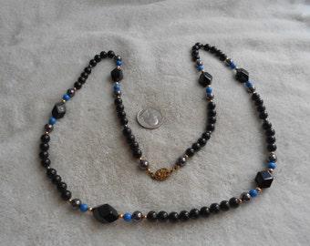 Vintage Necklace-Black GLASS Beaded-MARKED-N1466