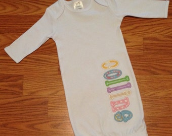 Baby gown with name for girl