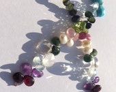 Birthstone gemstone mixed lot 24 peice strand 5-9mm smooth and faceted briolette turquoise aquamarine topaz sapphire ruby emerald