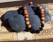 MALA BRACELET - Sandalwood Beads w/Black Onyx Semi-Precious Stones - Meditation - Healing - Prayer - Yoga Beads - Hand Knotted