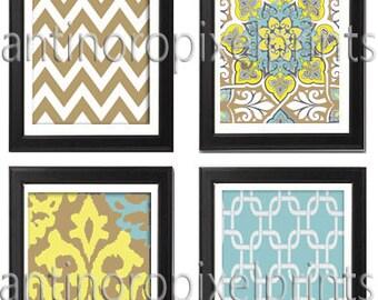 Blue / Khaki / Yellow Vintage / Modern inspired Ikat Art Prints Collection (Series C) -Set of 4 - 8 x 10 Prints -   (UNFRAMED)