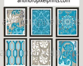 Contemporary Oriental Turquoise Blue Beige Grey Collage Wall Art Pictures (6) - 8x10 Prints - (UNFRAMED) Your colors and sizes Available