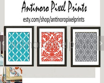 Surie Wall Art Prints Turquoise Orange Grey Set of (3 ) Prints - Custom Color Sizes Available (UNFRAMED) #223115301