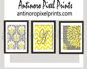 Personalized Yellow Grey Floral Modern Art Pictures Collection  -Set of (3) - 5x7 Prints - (UNFRAMED) #152388628