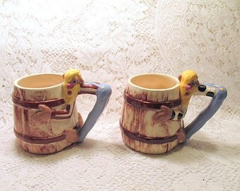 Twin Winton Hillbilly mugs Mid Century man cave gift collectible pottery