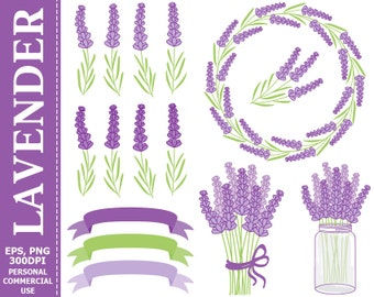 70% OFF SALE Digital Lavender Clip Art - Purple, Green, Wreath, Mason Jar, Bouquet, Lavender Clip Art