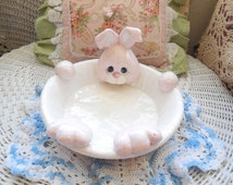 Darling Fun Bunny Rabbit Dish Sweet /On Sale use code CLEARINGOUT25  must be used at check out :)S