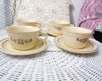 1970 s Pfaltzgraff Village Coffee Mug and Sauce / Listing is  for 1  Mug 1 Saucer / 2 Sets Available