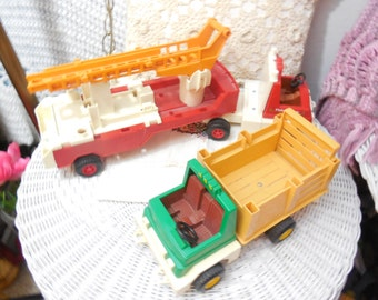1978 Fisher Price  Adventure, Husky  People Firer Truck 1979 Rodeo, Ranch Truck 1978 ,Fisher Price Toys,Vintage Toys ,Rescue Hero Toys