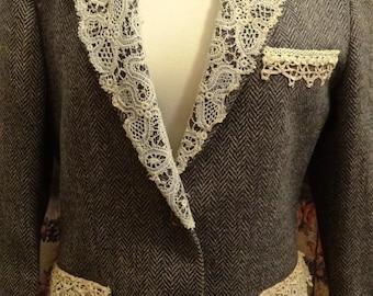 French vintage lace & buttons embellished jacket/blazer.