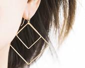 Large Gold Double Square Hoop Dangle Earrings, Geometric Jewelry, GJ