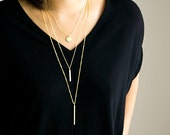 Slim Vertical Straight Bar Necklace, Gold / Silver / Long / Short Bar Layered Jewelry, LJ bj